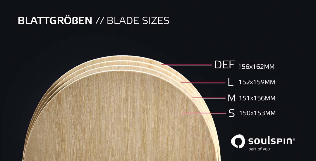 Tischtennishölzer in verschiedenen Blattgrößen von klein bis extra groß