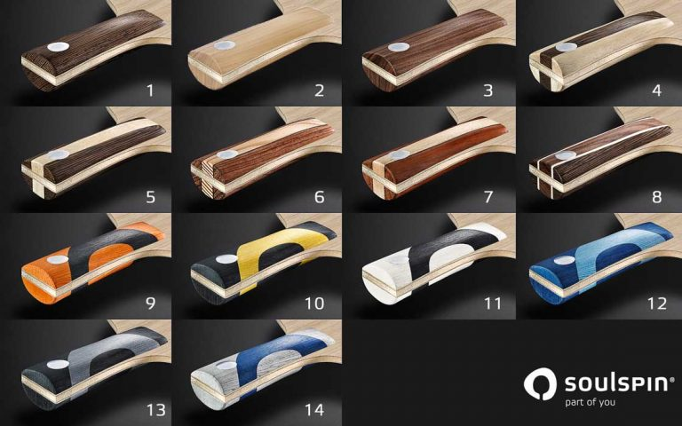 Diffenrent handle colours available for our handmade table tennis blades made in Germany