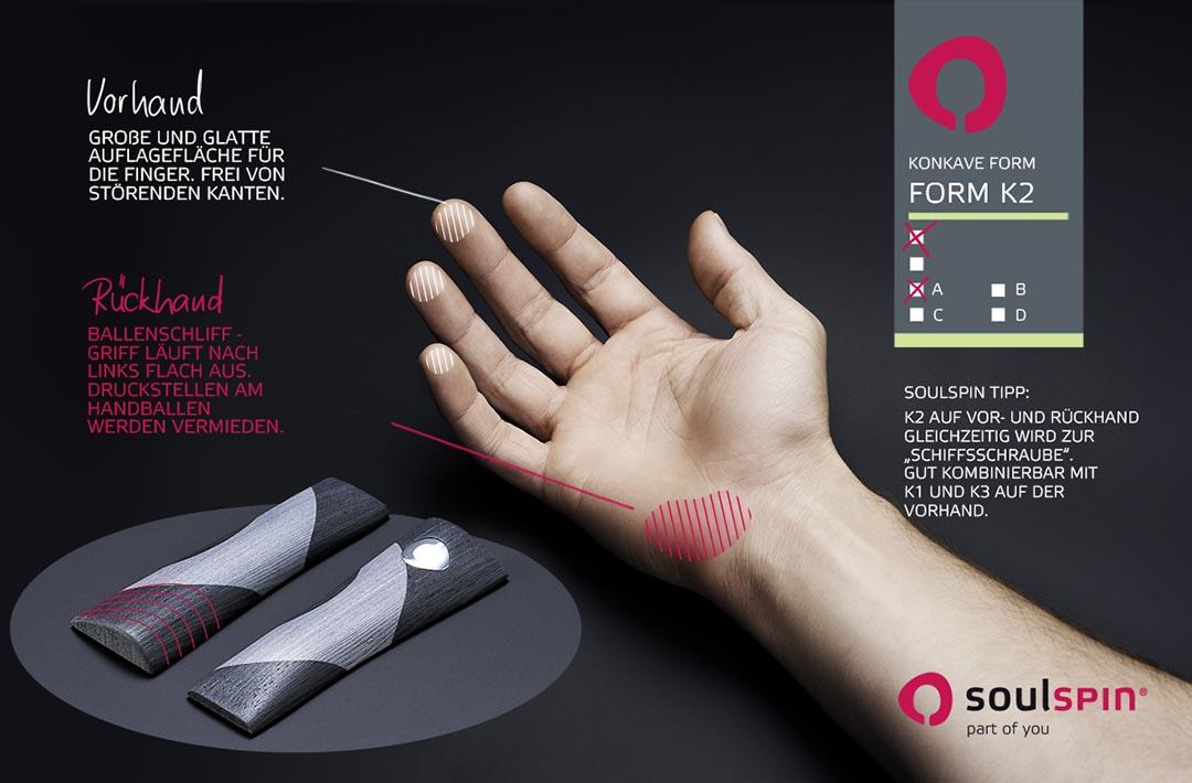 Infografik zur Griffform K2 für handgemachte Tischtennishölzer von Soulspin