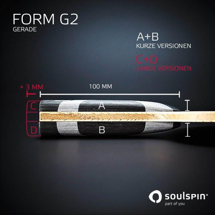Detailansicht Griffform für Tischtennisschläger mit individuell angepassten Griffen handgemacht in Deutschland von Soulspin