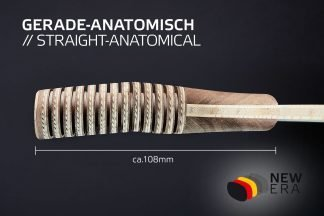 Seitenansicht inkl. Maßen NEW ERA gerade-anatomischer Schlägergriff leicht abgewinkelt