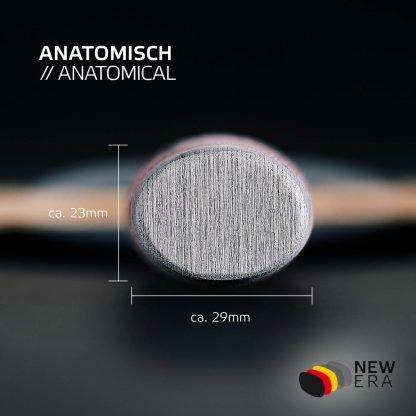 Rückansicht inkl. Breite und Höhe anatomischer Schlägergriff