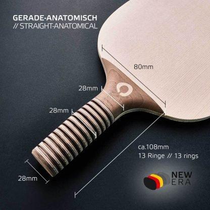 NEW ERA Tischtennisholz gerade-anatomisch inkl. Grifflänge und Breite