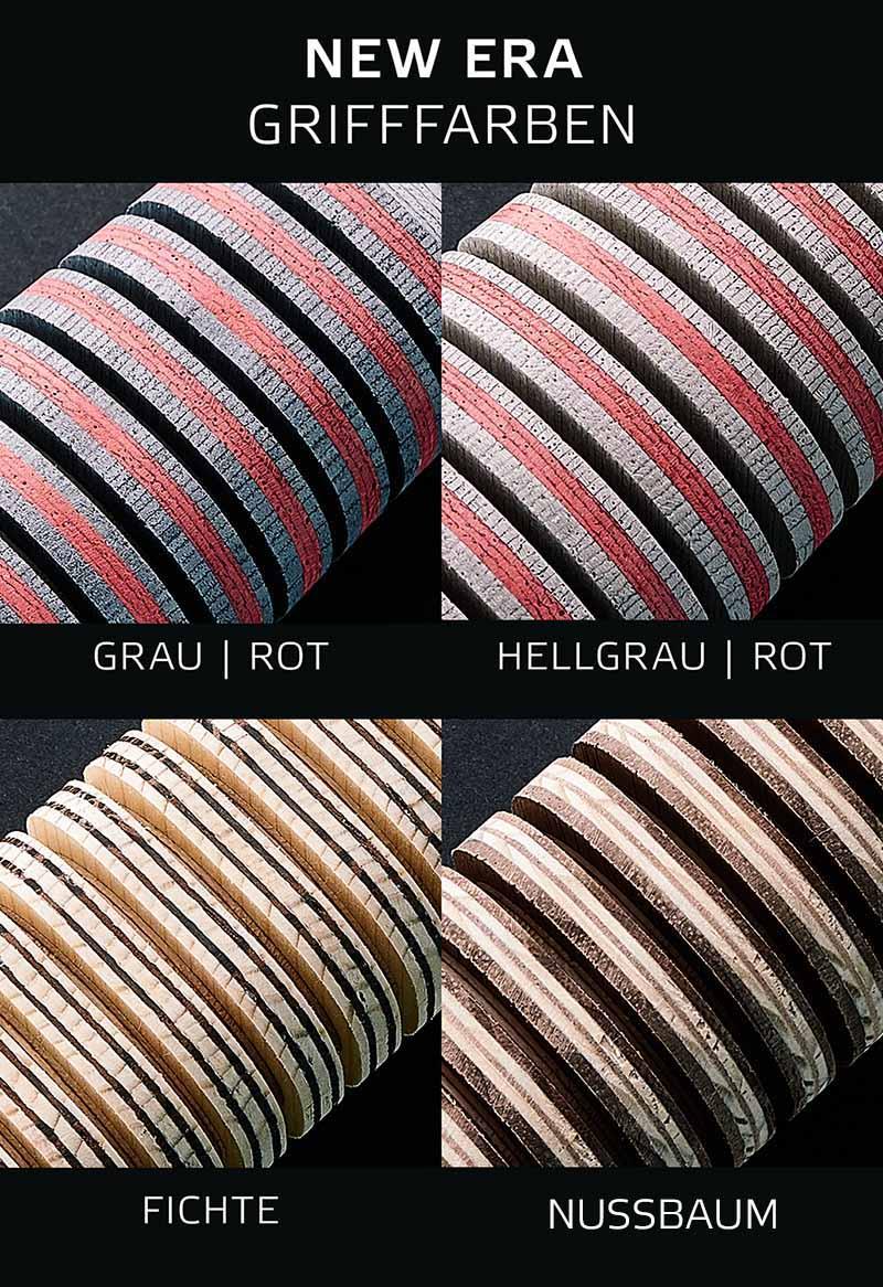 Verfügbare Farbe und Holzsorten für NEW ERA Griffe