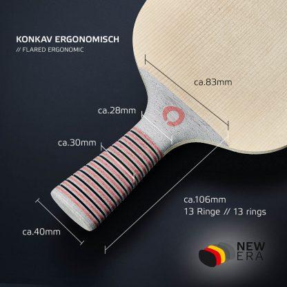 Konkaver Schlägergriff ergonomisch angepasst an die Hand