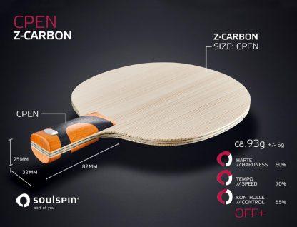Offensives Penholder-Holz CPEN mit Z-CarbonFaser für offensive Spieler handgemachtes Tischtennisholz von SOULSPIN