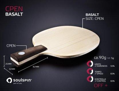 Penholder Basalt Table Tennis blade by SOULSPIN