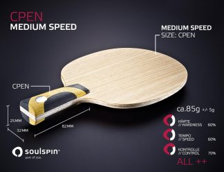 Medium speed Chinese Penholder handmade table tennis bats by SOULSPIN