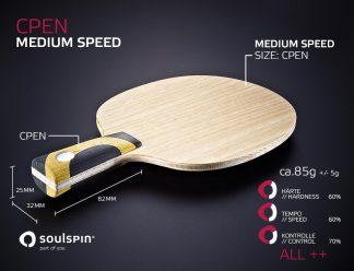 Mittelschnelles Penholderholz Allround handgemachte Tischtennisschläger von SOULSPIN
