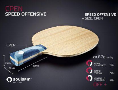 Offensiver chinesischer Carbon Penholder handgemachtes Tischtennisholz von SOULSPIN