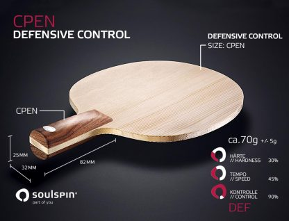 Defensive Chinese Penholder with Walnut handle handmade Table Tennis blade by SOULSPIN