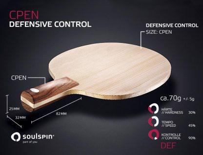 Defensivholz als Penholder mit Nussbaumgriff handgemachtes Tischtennisholz von SOULSPIN