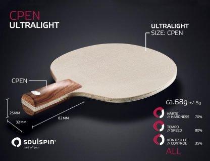 Ultralight extrem leichter Penholder mit chinesischem Penholder-Griff von SOULSPIN
