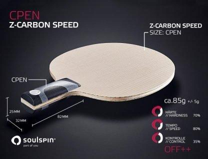 Extrem harter und schneller Penholder CPEN mit Carbon-Gemisch Tischtennisholz von SOULSPIN