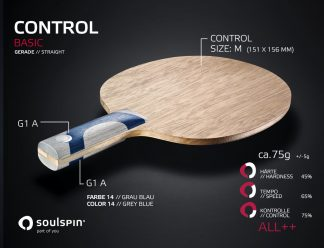 Control table tennis blade for all-round players with straight handle by Soulspin