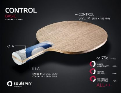 Control table tennis blade for all-round players with concave handle by Soulspin