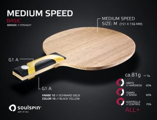 Hard all-round table tennis blade with straight handle by Soulspin