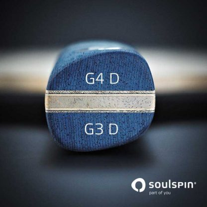 The asymmetrical racket handle of the carbon blade Roots 1 made in Germany by Soulspin