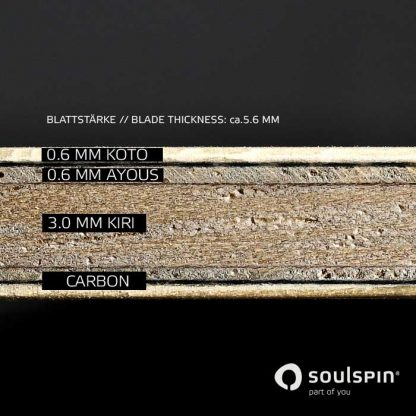 Cross-section through the table tennis blade with carbon fiber Roots 1 by Soulspin