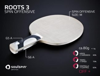 The offensive table tennis blade ROOTS 3 and its playing characteristics made in Germany by Soulspin