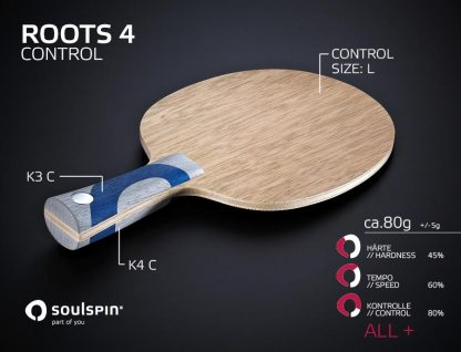 The table tennis blade for allround players Roots 4 Control and its playing characteristics