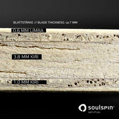 Cross section of the Roots 4 Control table tennis bat from Soulspin