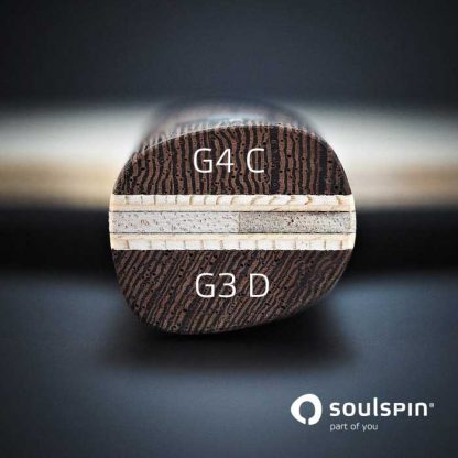 The specially shaped handle of Soulspin's Basalt table tennis bat