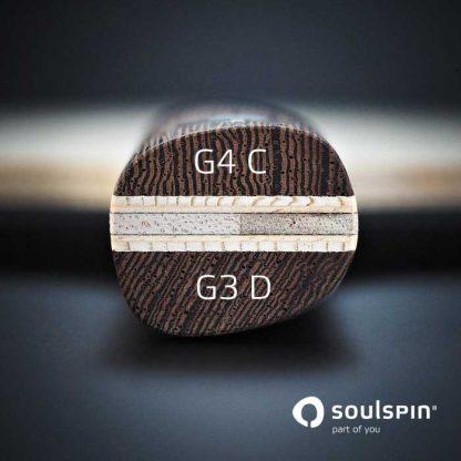 Der besonders geformte Griff des Tischtennisschläger Basalt von Soulspin