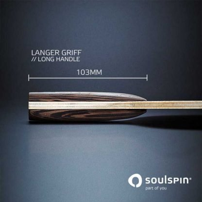 The long racket handle on table tennis blade Roots 6 with basalt fibre