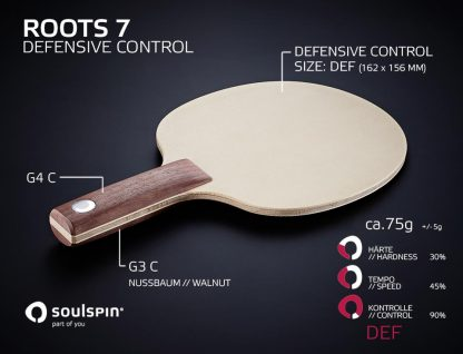 Roots 7 Defensive Control handmade table tennis blade by SOULSPIN