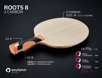 Offensive tabletennis blade Z-Carbon. Tabletennis blade with technical fibre Roots 8 from Soulspin and its playing characteristics