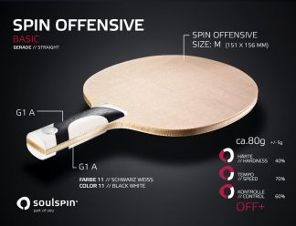 Offensive table tennis blade with emphasis on spin straight handle from Soulspin