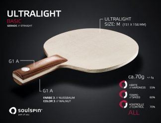 Ultralight very light table tennis blade with straight handle by SOULSPIN
