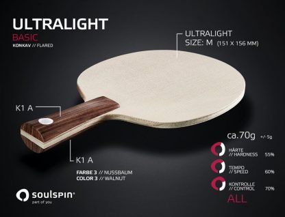 Ultralight very light table tennis blade with concave handle by SOULSPIN