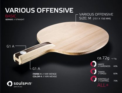 Blade for all-round players with straight handle from SOULSPIN