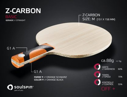 Z-Carbon Basic table tennis blade with synthetic fiber and straight handle