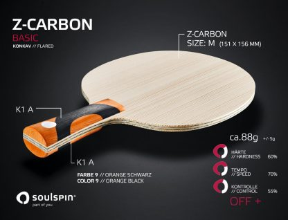 Z-Carbon Basic table tennis blade with synthetic fibre and concave handle