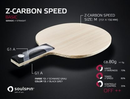 Offensive blade Z-Carbon Speed Basic table tennis blade with straight handle
