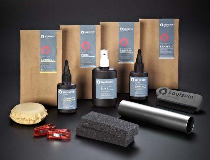 Tischtenniszubehör Komplett-Set enthält alle Produkte die Sie zur Pflege von Tischtennis-Hölzern und Belägen brauchen